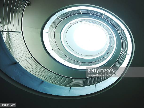 Directly Below Shot Of Skylight Amidst Spiral Staircases In Building
