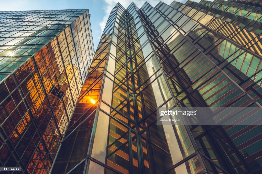 directly below view of modern golden architecture : Stock Photo