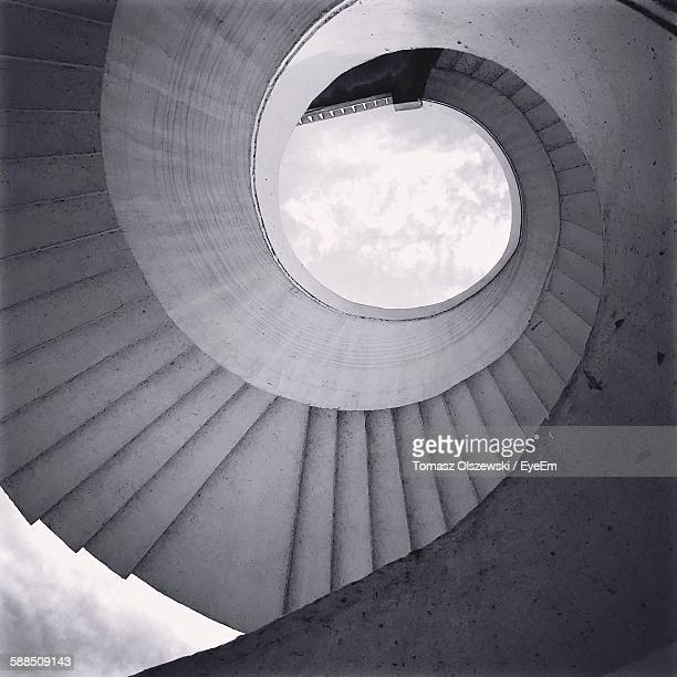 Directly Below View Of Spiral Staircase Against Sky