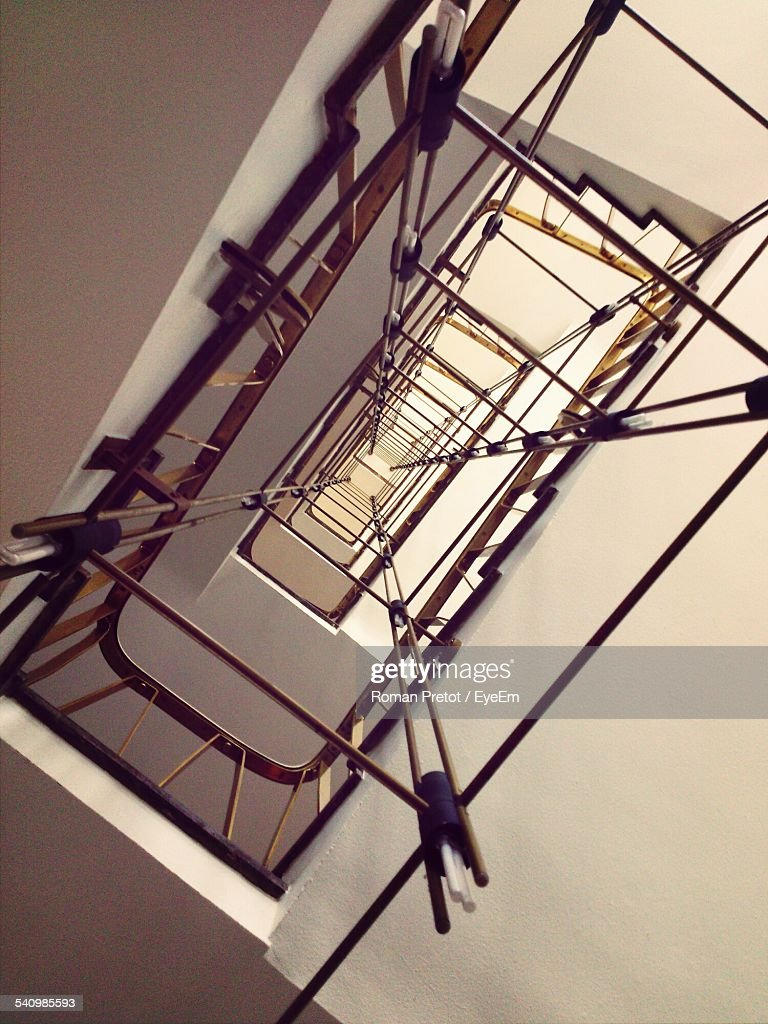 Directly Below View Of Spiral Staircase : Stock-Foto