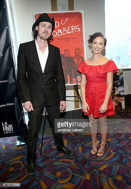 Director Aaron Nee and actress Allison Miller attend the 'Band of Robbers' and 'Roy Kafri Mayokero' screenings during the 2015 Los Angeles Film...