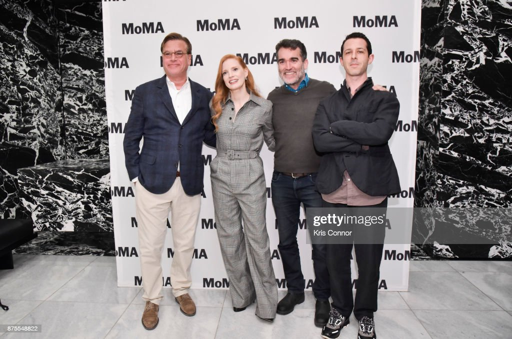 director Aaron Sorkin, Jessica Chastain, Brian d'Arcy James and Jeremy Strong attends\ the MoMA's Contenders Screening of 'Molly's Game' at MOMA on November 17, 2017 in New York City.