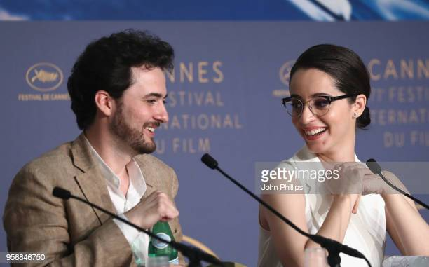Director AB Shawky and actress Shahira Fahmy laugh as they attend the press conference for 'Yomeddine' during the 71st annual Cannes Film Festival at...