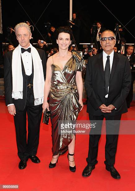 Director Abbas Kiarostami and actress Juliette Binoche with actor William Shimell attends the 'Certified Copy' Premiere at the Palais des Festivals...