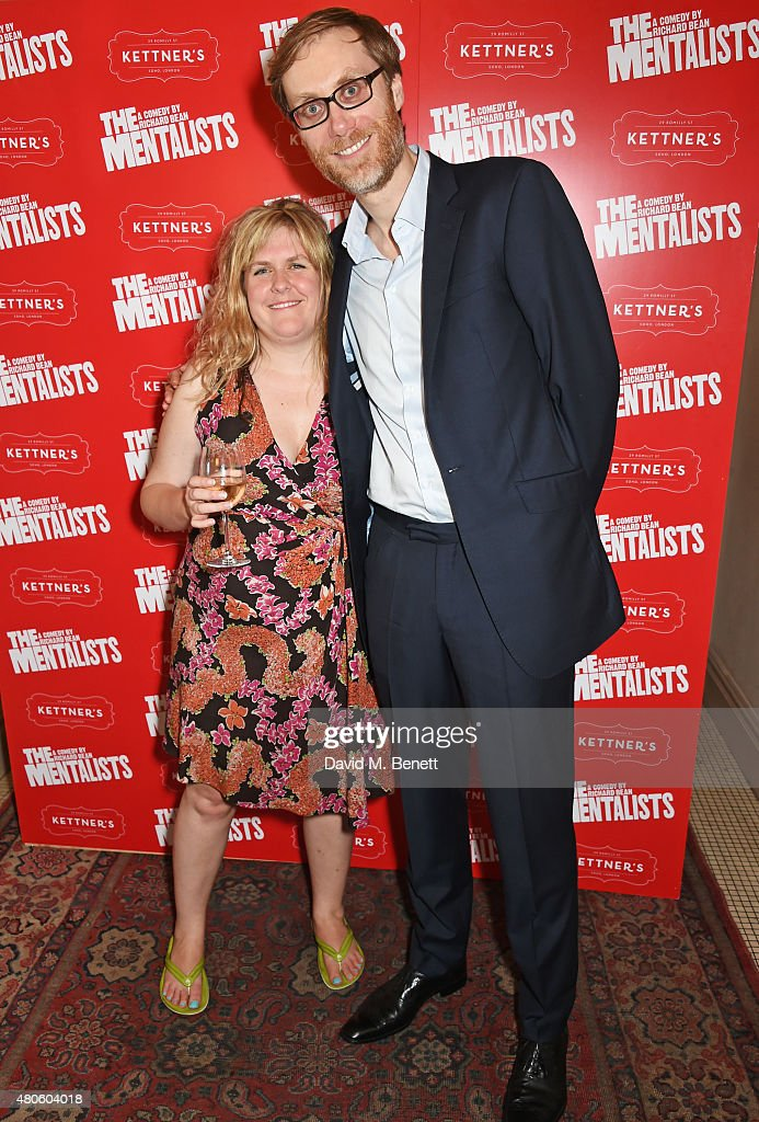 Director Abbey Wright (L) and Stephen Merchant attend an after party following the press night performance of 'The Mentalists' at Kettner's on July 13, 2015 in London, England.