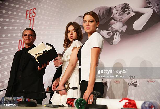 Director Abdellatif Kechiche actresses Lea Seydoux and Adele Exarchopoulos winners of the 'Palme d'Or' for 'La Vie D'adele' speak at the Palme D'Or...