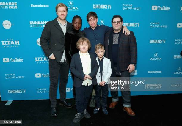 Director Abe Forsythe poses with actors Alexander England Lupita Nyong'o Josh Gad Charlie Whitley and Diesel La Torraca at the 'Little Monsters'...