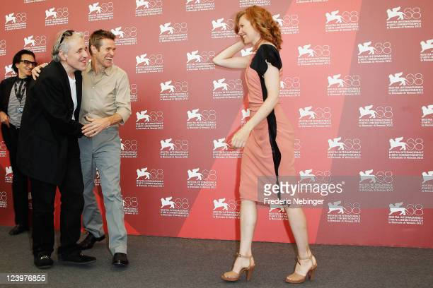 Director Abel Ferrara actor Willem Dafoe and actress Shanyn Leigh pose at the 444 Last Day On Earth photocall during the 68th Venice Film Festival at...