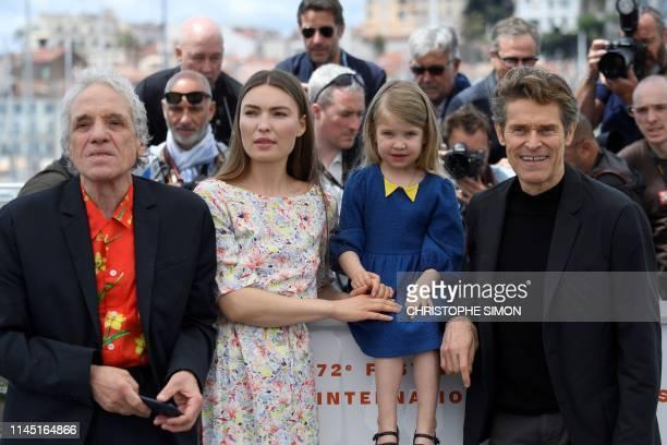 US director Abel Ferrara Moldovan actress Cristina Chiriac US actress Anna Ferrara and US actor Willem Dafoe pose during a photocall for the film...