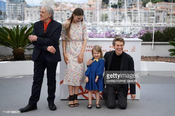TOPSHOT US director Abel Ferrara poses with his wife Moldovan actress Cristina ChiriacFerrara and daughter US actress Anna Ferrara and US actor...