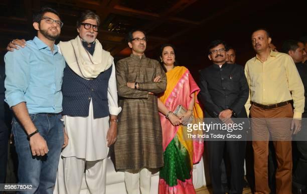 Director Abhijit Panse Rashmi Thackeray Shiv Sena President Uddhav Thackeray Amitabh Bachchan and Sanjay Raut at the teaser launch of the film...