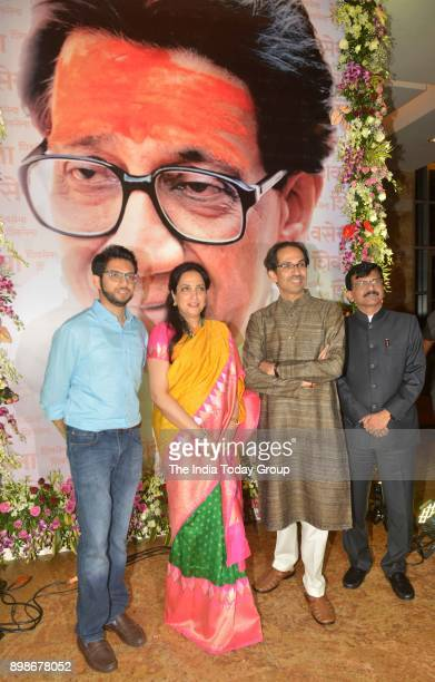 Director Abhijit Panse Rashmi Thackeray Shiv Sena President Uddhav Thackeray and Sanjay Raut at the teaser launch of the film 'Thackeray' in Mumbai