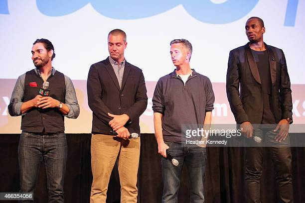 Director Adam Hootnick producers David Jacoby and Bill Simmons and NBA player Serge Ibaka speak onstage at the premiere of 'Son of the Congo' during...
