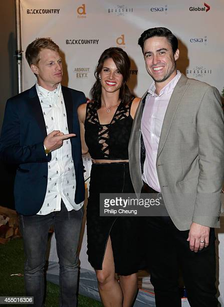 Director Adam MacDonald actress Missy Peregrym and actor Jeff Roop attend the 'Backcountry' world premiere party during the 2014 Toronto...
