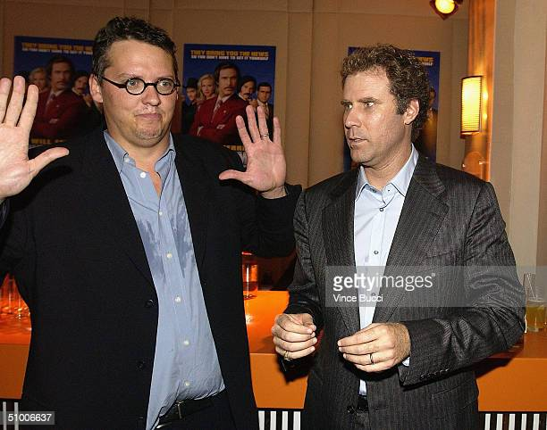 Director Adam McKay and actor Will Ferrell at the 'Anchorman' aftershow party at the Hollywood Roosevelt Hotel June 28 2004 in Hollywood California