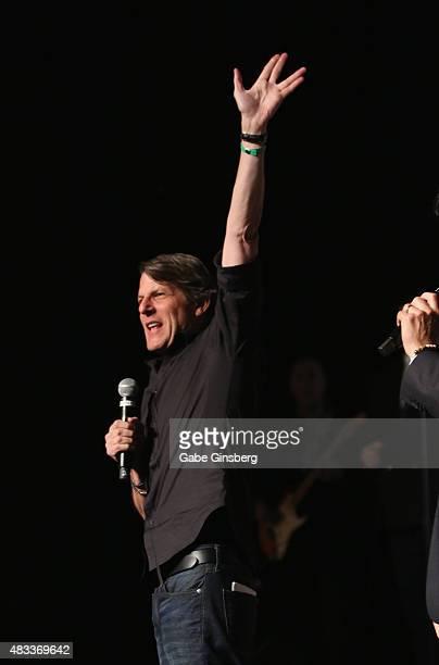 Director Adam Nimoy extends his arm with a live long and prosper gesture from the Star Trek television franchise during the Creation Entertainment's...