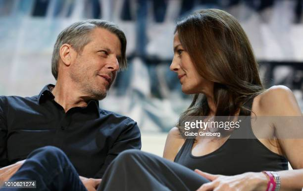 Director Adam Nimoy stares into actress Terry Farrell's eyes at the SmithsonianÕs Star Trek Inspiring Culture Technology panel during the 17th annual...