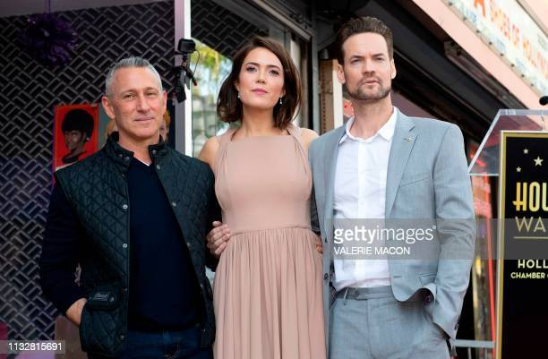 Director Adam Shankman actors Mandy Moore and Shane West attend a ceremony honoring Mandy Moore with a star on The Hollywood Walk of Fame on March 25...