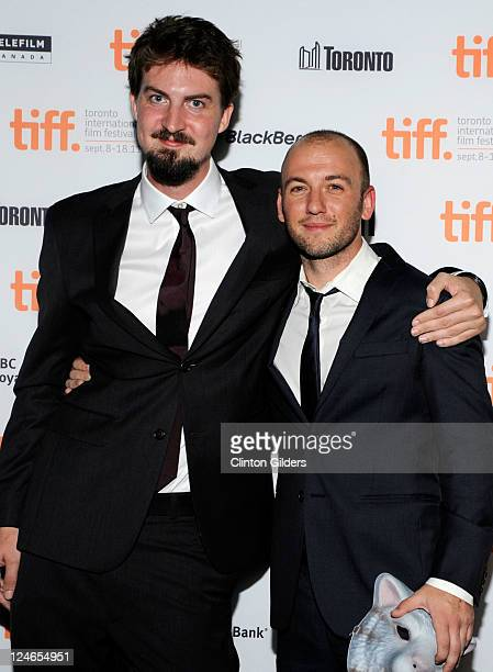 Director Adam Wingard and producer Simon Barrett arrive at You're Next Premiere at Ryerson Theatre during the 2011 Toronto International Film...