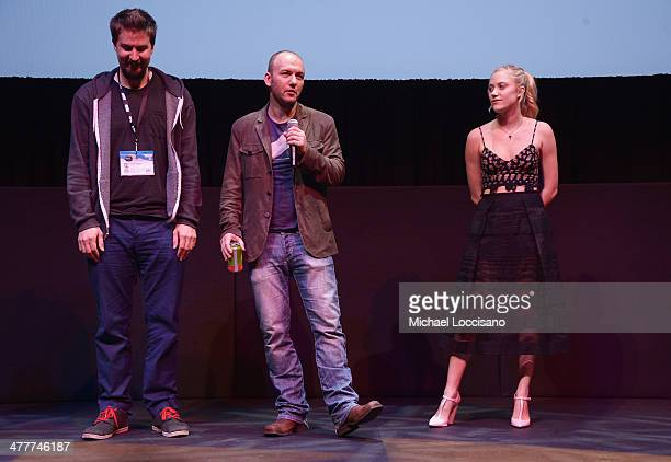 Director Adam Wingard screenwriter/producer Simon Barrett and actress Maika Monroe take part in a QA following The Guest premiere at the 2014 SXSW...