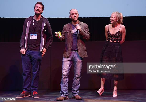 Director Adam Wingard screenwriter/producer Simon Barrett and actress take part in a QA following The Guest premiere at the 2014 SXSW Music Film...