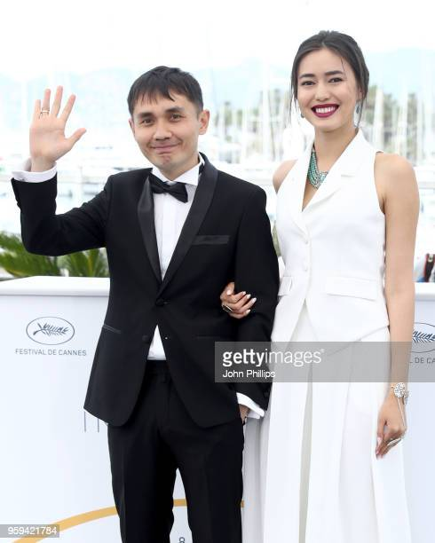 Director Adilkhan Yerzhanov and actress Dinara Baktybaeva attend 'The Gentle Indifference Of The Word' Photocall during the 71st annual Cannes Film...
