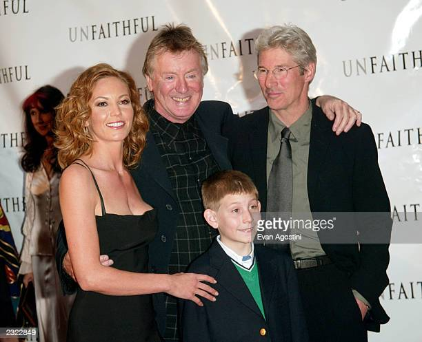 Director Adrian Lyne with costars Diane Lane Richard Gere and Erik Per Sullivan at the Unfaithful special film screening at the Ziegfeld theater in...