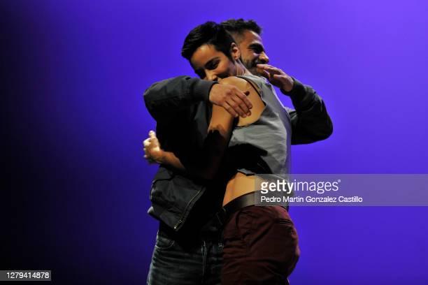 Director Adrián Vázquez and Esmeralda Pimentel during a rehearsal of the play 'Los Vuelos Solitarios' by Director Adrián Vázquez at Teatro de La...