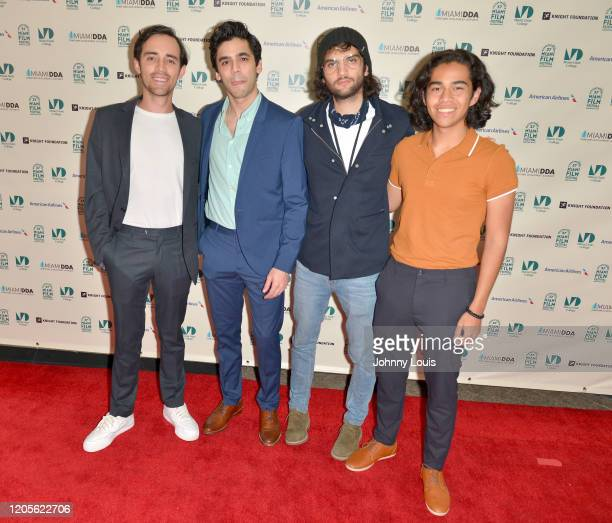 Director Aeden O'Connor Gabriel Borjas Daniel Fraño Pereira and Diego Kafie from feature film '90 Minutes' are seen during 37th Annual Miami Film...