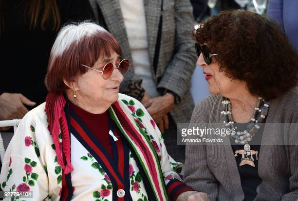 Director Agnes Varda and artist Patricia Knop attend the 90th Academy Awards French Nominees Reception hosted by the Consul General of France at La...