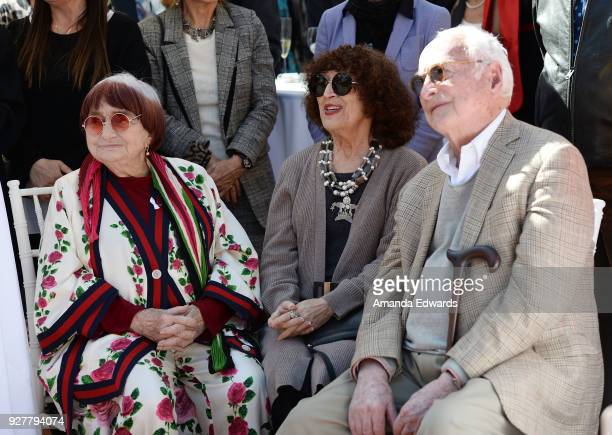 Director Agnes Varda, artist Patricia Knop and screenwriter James Ivory attend the 90th Academy Awards French Nominees Reception hosted by the Consul...