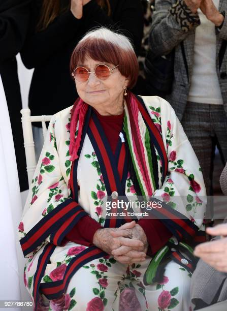Director Agnes Varda attends the 90th Academy Awards French Nominees Reception hosted by the Consul General of France at La Residence de France on...