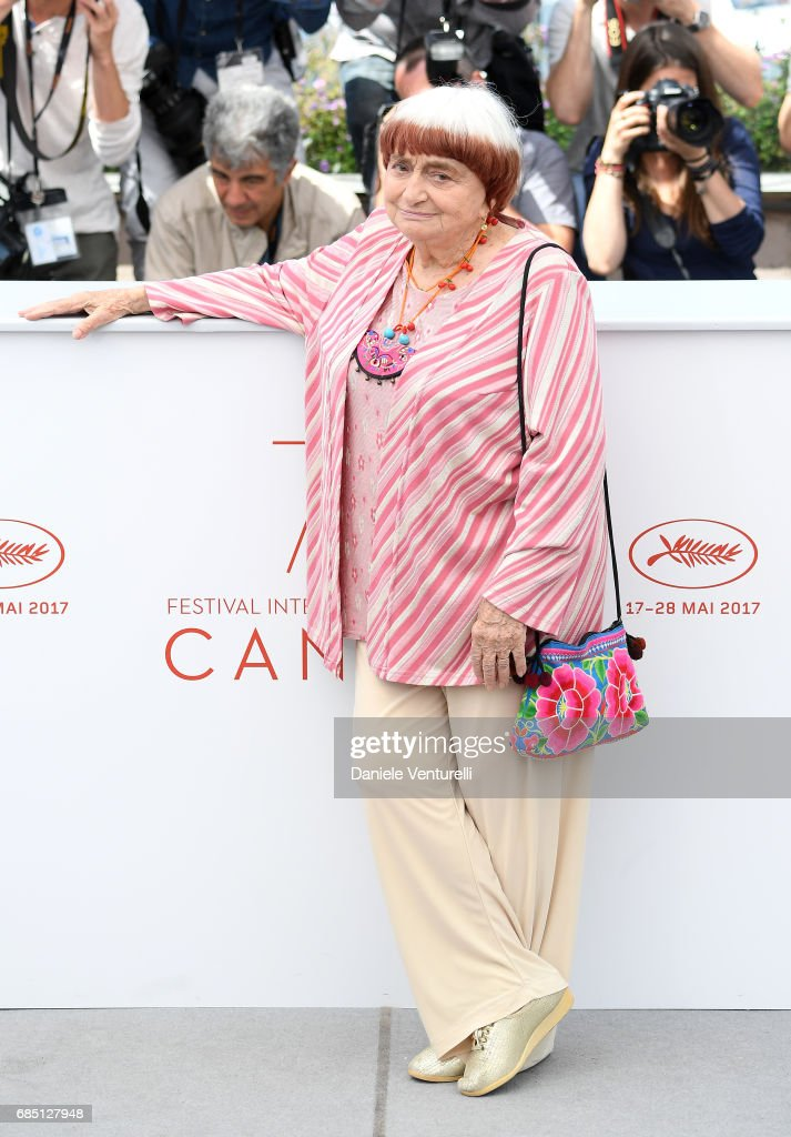 Director Agnes Varda attends the 'Faces, Places (Visages, Villages)' photocall during the 70th annual Cannes Film Festival at Palais des Festivals on May 19, 2017 in Cannes, France.