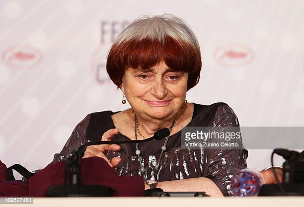 Director Agnes Varda attends the Palme D'Or Winners Press Conference during the 66th Annual Cannes Film Festival at the Palais des Festivals on May...
