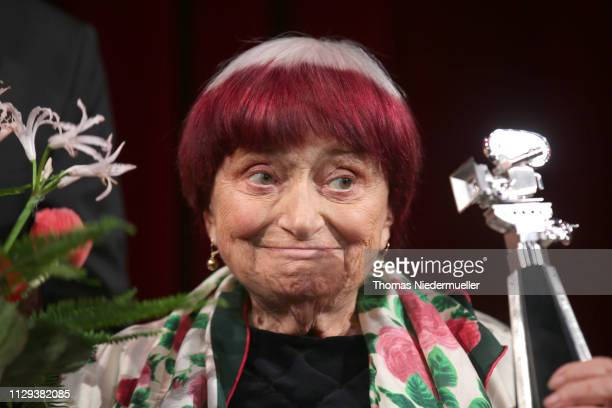 Director Agnes Varda on stage at the Berlinale Camera award ceremony during the 69th Berlinale International Film Festival Berlin at Berlinale Palace...