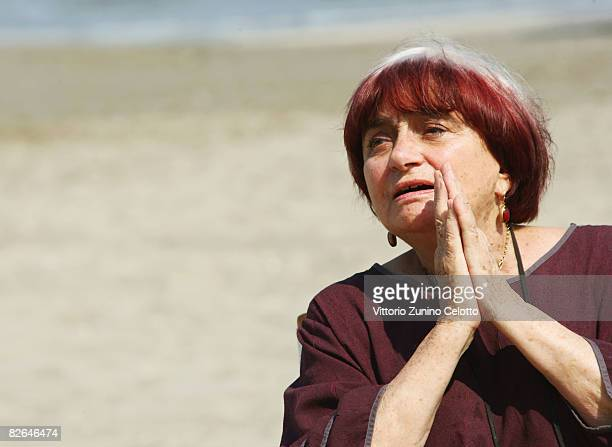 Director Agnes Varda poses on the beach on the LidoVenice promoting her documentry film 'The Beaches of Agnes' during the 65th Venice Film Festival...