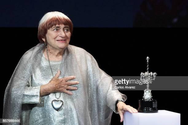 Director Agnes Varda receives the Donosti Award during the 65th San Sebastian International Film Internacional Festival at the Eugenia Victoria...