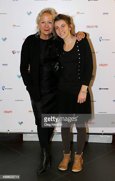 Director Agnès B and LouLélia Demerliac attend the 'Je m'appelle Hmmm' Russian premiere during the Saint Petersburg International Media Forum at the...