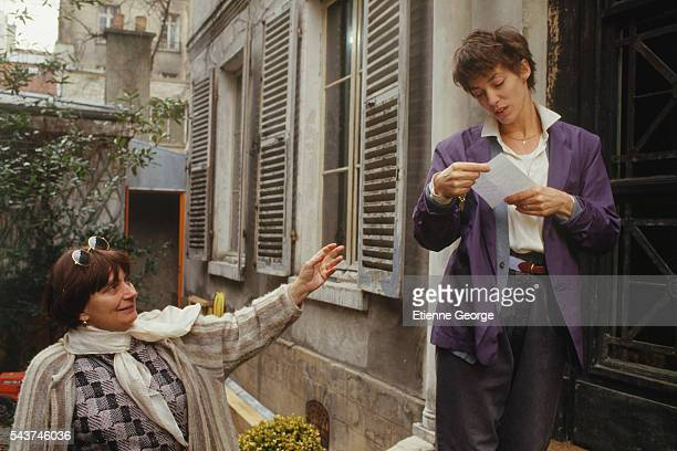 Director Agnès Varda and actress and singer Jane Birkin on the movie set of Jane B par Agnès V directed by Agnes Varda