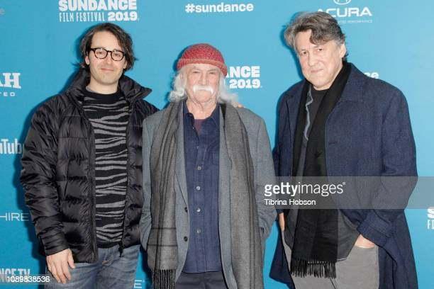 Director AJ Eaton musician David Crosby and prodcer Cameron Crowe attend the David Crosby Remember My Name Premiere during the 2019 Sundance Film...