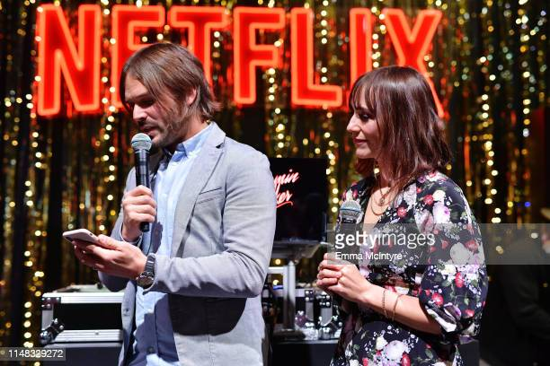 Director Alan Hicks and Rashida Jones attend Q's Jook Joint Screening Reception and Toast at Raleigh Studios on May 10 2019 in Los Angeles California
