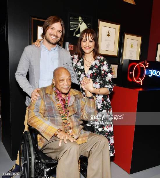 Director Alan Hicks, Quincy Jones and Rashida Jones attend Q's Jook Joint Screening, Reception and Toast at Raleigh Studios on May 10, 2019 in Los...