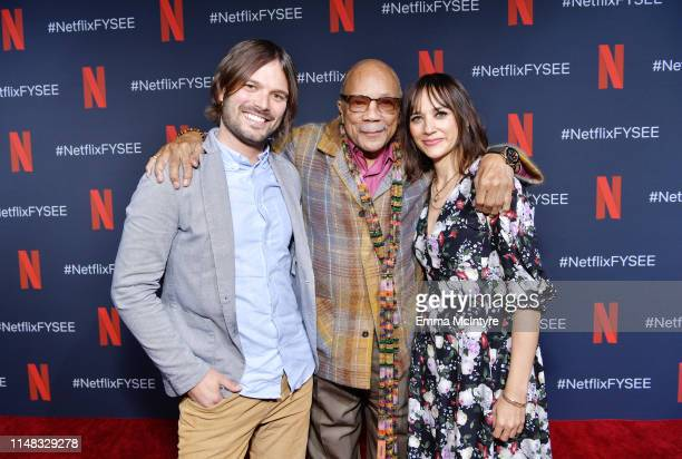 Director Alan Hicks Quincy Jones and Rashida Jones attend Q's Jook Joint Screening Reception and Toast at Raleigh Studios on May 10 2019 in Los...
