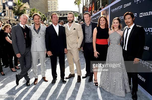 Director Alan Taylor, actors Jason Clarke, Arnold Schwarzenger, Jai Courtney, producers David Ellison, Dana Goldberg, actors Emila Clarke and...