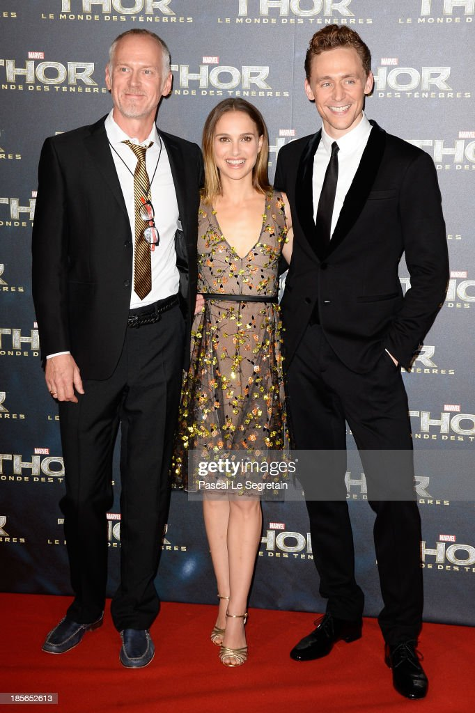 Director Alan Taylor, actors Natalie Portman and Tom Hiddleston attend 'Thor: The Dark World' Premiere at Le Grand Rex on October 23, 2013 in Paris, France.