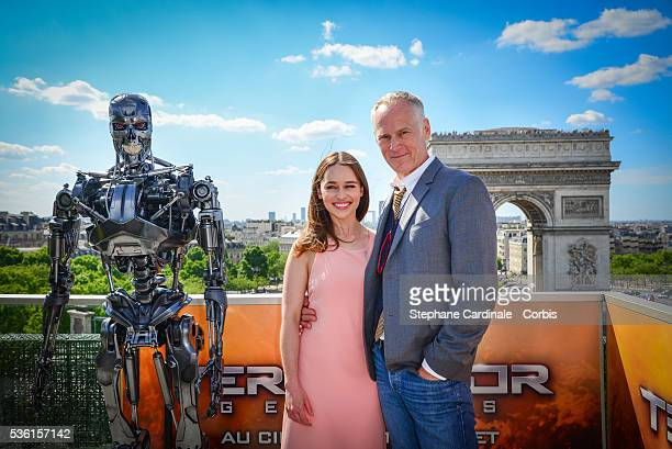 Director Alan Taylor and Actress Emilia Clarke attend the Photocall of 'Terminator Genisys' at the Publicis Champs Elysees on June 19 2015 in Paris...