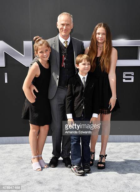 Director Alan Taylor and his family arrive at the Los Angeles premiere of Terminator Genisys at The Dolby Theatre on June 28 2015 in Hollywood...