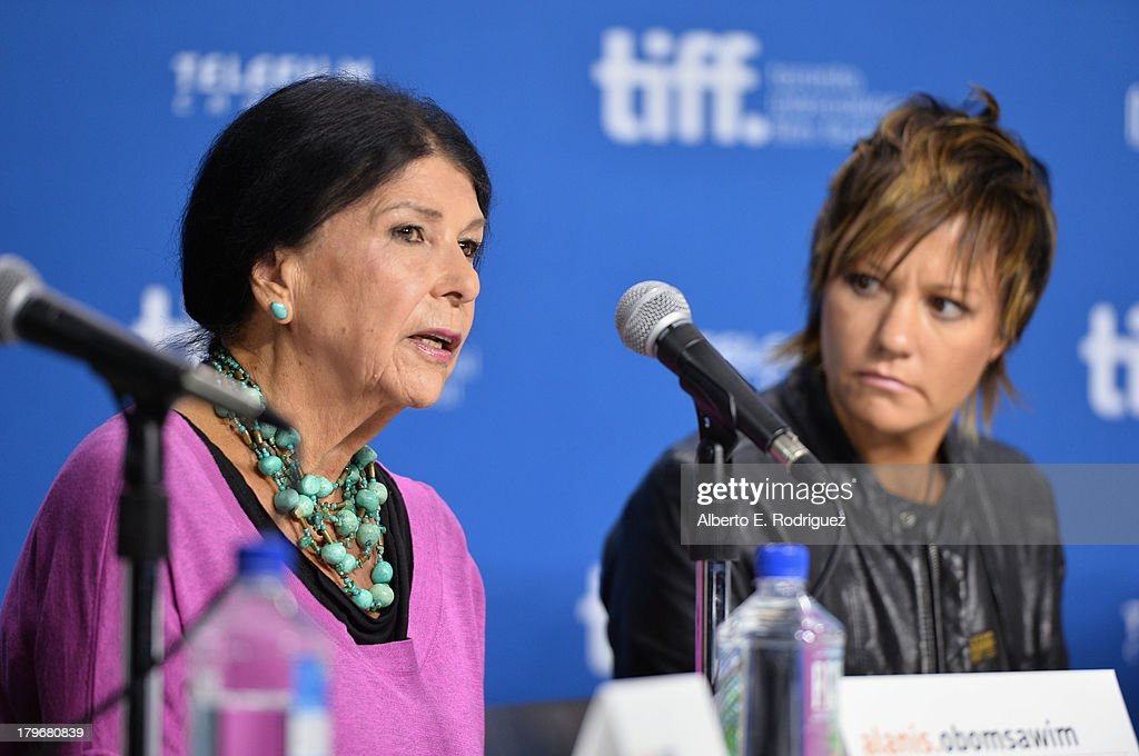 Director Alanis Obomsawin and director Sarah Spillane of 'Around the Block' speak onstage at First Peoples Cinema Press Conference during the 2013 Toronto International Film Festival at TIFF Bell Lightbox on September 6, 2013 in Toronto, Canada.