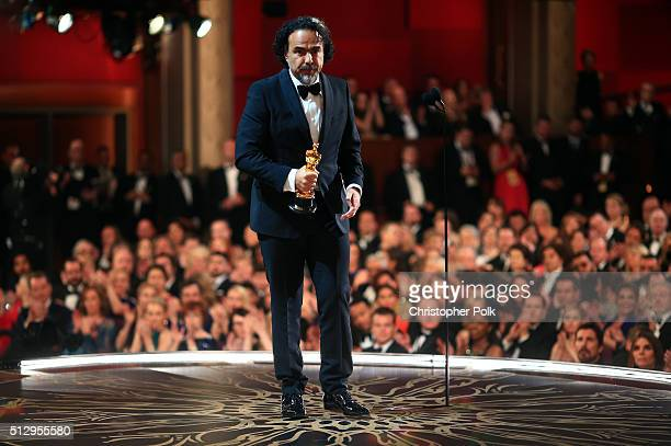 Director Alejandro G Inarritu wins Best Director for 'The Revenant' during the 88th Annual Academy Awards at Dolby Theatre on February 28 2016 in...