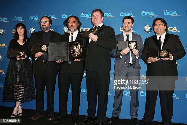 Director Alejandro G Iñárritu winner of the Award for Outstanding Directorial Achievement in Feature Film for The Revenant and his assistant...